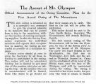 The Ascent of Mt. Olympus : Official announcement of the Outing Committee ; Plans for the First...