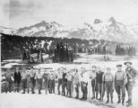Album 08.080 - Hiking party, with their alpenstocks, in front of Paradise Inn, 1919