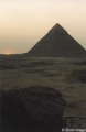 End of sunset at Giza, with Pyramid of Khafre (Khephren)