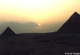 Sunset beginning at Giza, with Pyramids of Menkaure and Khafre (Khephren)