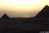 Sunset at Giza, with Pyramids of Menkaure and Khafre (Khephren)