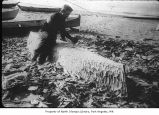 Henry Sinclair carving a canoe on the beach in Neah Bay