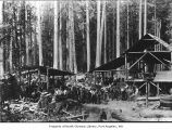 Eacrett Shingle Mill and people posing outside, probably near Dry Creek in Clallam County