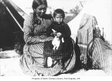 Hattie Hayte with her daughter and a puppy in Neah Bay