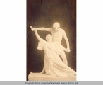 Frank and Bessie King, actors, wearing white costumes and white body makeup, in classical pose,...