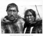 Eskimo man and woman, A-Pa-Look and Wy-Ung-Ena, Cape Douglas, 1905