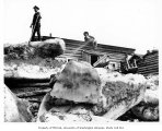 Ice floes beside the government telegraph office, Fortymile, ca. 1905