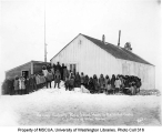 Group of students in front of school house, Cape Prince of Wales, ca. 1904