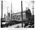 Steamship TACOMA departing for Nome, Pike Street Wharf, Seattle, 1904