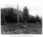 Totem pole with cows in foreground, Sitka, 1908