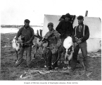 Eskimo men with reindeer, Cape Prince of Wales, ca. 1905