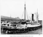 Steamship QUEEN at dock in Port Townsend, Washington, following a fire at sea on February 27, 1904