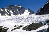 Blue Glacier and Mount Olympus East Peak seen from Blizzard Pass, Olympic National Park, date...