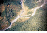 Enchanted Valley in the Olympic Mountains at White Creek and Anderson Glacier flow, aerial view,...