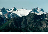 Blue Glacier and Mount Olympus, probably seen from Bailey Range, Olympic National Park, date...