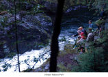 Sol Duc River at the Salmon Cascades showing several people observing the rapids, Olympic National...