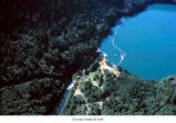 Lake Mills Dam on Lake Mills, aerial view, Olympic National Park, date unknown