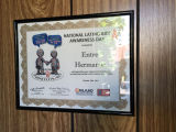 Framed Award  for National Latino AIDS Awareness Day, 2011, in Entre Hermanos Offices