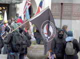 Stand Against Communism Rally: Anti-fascist demonstrators gathering near the Patriot Prayer group, Seattle, May 1, 2017