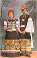 Illustration of woman and man in folk costume, Hungary, circa 1930-1937