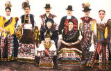 Illustration of men, women, and child in folk costume, Hungary, circa 1930-1937