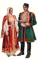 Illustration of woman and man in costume, Risan, Montenegro (former Yugoslavia), circa 1930-1937
