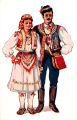 Illustration of man and woman in costume, Zagreb (Šestine), Croatia (former Yugoslavia), circa...