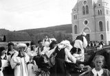 Men, women, and children in costume, Gornji Vakuf, Bosnia and Hercegovina (former Yugoslavia),...