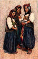 Illustration of women in costume, unidentified town, Bosnia and Hercegovina (former Yugoslavia),...