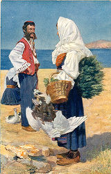 Illustration of man and woman in costume, Dalmatia region, Croatia (former Yugoslavia), circa...
