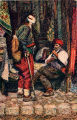 Illustration of men in costume, unidentified town, Bosnia and Hercegovina (former Yugoslavia),...