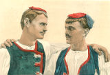 Illustration of men in costume, Dalmatia region, Croatia (former Yugoslavia), circa 1930-1937