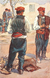 Illustration of men in costume, Sinj, Croatia (former Yugoslavia), circa 1930-1937
