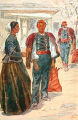Illustration of woman and men in costume, Šibenik, Croatia (former Yugoslavia), circa 1930-1937