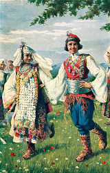 Illustration of woman and man in costume, Vrlika, Croatia (former Yugoslavia), circa 1930-1937