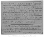Memorial tablet for the blockhouse fort at Cherry St. used during the Indian War of 1855, ...