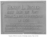 Memorial tablet for the Henry L. Yesler sawmill, Seattle, ca. 1905