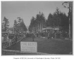 Monument dedication at Alki Point showing Edmond Meany orating,  West Seattle neighborhood,...