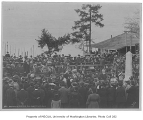 Monument dedication at Alki Point showing Samuel H. Piles orating, West Seattle neighborhood,...