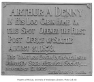 Memorial tablet for Arthur A. Denny and first Post Office in Seattle, ca. 1905