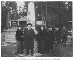 Seattle pioneers at the Alki Point Monument dedication, West Seattle neighborhood, Seattle,...