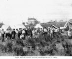U.S. Government military corral in north Seattle showing packers, August 10, 1900