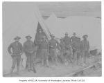 Soldiers from the 9th Cavalry, Troop C, in front of tents, Fort Lawton, August 10, 1900