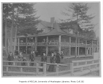 Stockade Hotel exterior at Alki Point on the day the pioneer's monument was dedicated, West...