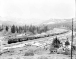 Great Northern Railway freight train eastbound through the Cascade Mountains, March 7, 1929