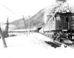 Last train over the abandoned snow shed route in the Cascade Mountains, January 12, 1929
