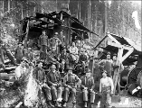 Logging crew and donkey engine, Snohomish County, ca. 1912