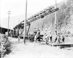 Great Northern Railway track laying machine in Tumwater Canyon east of Leavenworth, July 9, 1929