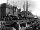 Climax locomotive on bridge pulling load of logs, Snohomish County, ca. 1913