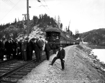 Russian Railway Commission members inspecting rails on the Great Northern Railway, March 11, 1930